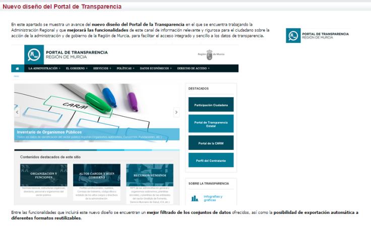 Nuevo diseño del Portal de Transparencia de la CARM (Avance)