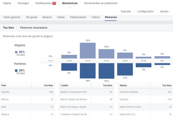 Ejemplo panel de estadísticas en una página de Facebook