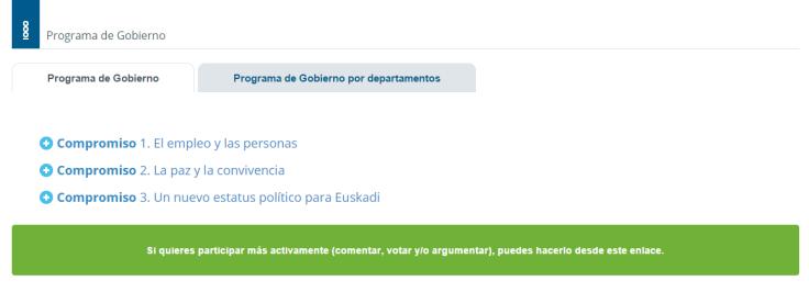 Irekia. Rendición de cuentas del programa del Gobierno Vasco.